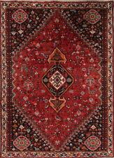 Vintage Geometric Animals Tribal Symbol Qashqai Persian Oriental Area Rug 7x10