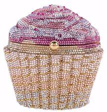 Judith Leiber Strawberry CupCake Minaudière Evening Bag Designer Pink Gold