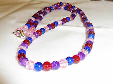 Handmade Jewellery Multicolured Crackle Beads Love Gift  Necklace  25 in