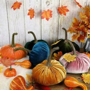 Pumpkin Plush Throw Pillows Soft Velvet Pillow Cushion Blue Decor Halloween