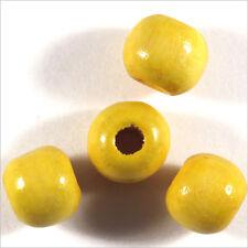 Lot de 50 perles rondes en Bois 10mm Jaune