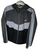 New Balance Running Windbreaker Jacket Size M-XL Men's Gray Full Zip Hood 130893