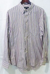 Lands end men 17/34 pinpoint oxford striped button up long sleeve shirt
