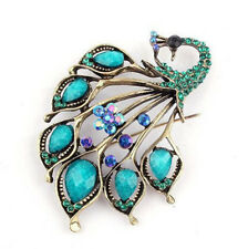 Vintage Style Amazing Turquoise and Blue Rhinestones Peacock Brooch Pin