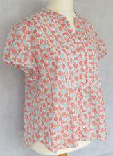 Laura Ashley Cotton Blouse Top 20 UK / Orange Turquoise Print Cap Sleeve Summer
