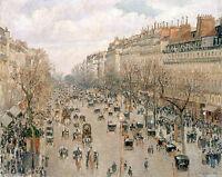 "Camille Pissarro, 1897 antique, PARIS, Boulevard Montmartre, 20""x16"" ART"