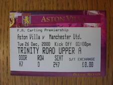 26/12/2000 Ticket: Aston Villa v Manchester United [United Championship Season]