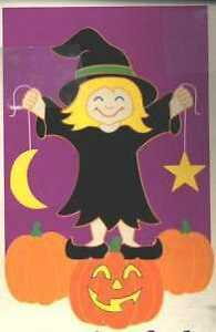 Witch on Pumpkin Large Applique Flag by NCE  #435
