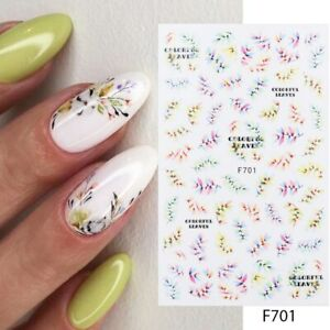 Nail Art Stickers Decals Spring Summer Fall Autumn Leaf Fern Flowers Floral F701