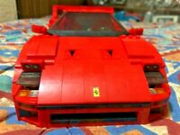 Ferrari F40 Sports Car Model Building Blocks Bricks Race Red Educational Child