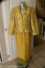 ensemble tailleur jaune doré luxe jupe + veste BATISTE taille 38-40   COMME NEUF