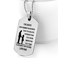 US Father Daughter Pendant To My Daughter Love Dad Dog Tag Necklace Jewelry Gift