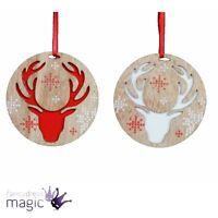 *Gisela Graham Christmas Snowflake Carved Reindeer Head Wood Hanging Decoration*