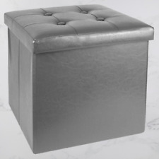 Small Folding Faux Leather Storage Ottoman Seat Stool Bench Toy Box Chest Grey