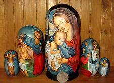 Russian Nativity Christmas Matryoshka 5 Nesting DOLLS Virgin Mary & Baby Jesus