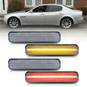 Clear Led Front&Rear Bumper Side Marker Light for 04-09 Maserati Quattroporte 4X