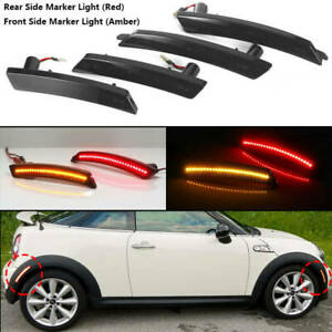 For Mini Cooper R55 R56 R57 R58 R59 R60 Smoked LED Side Marker Light Red Amber