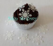 40 Blue White Snowflake Edible Cupcake Topper Snowflakes Frozen Cake Decoration