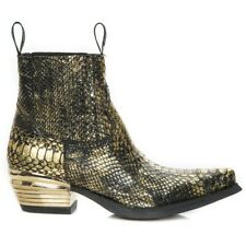 New Rock Mens Western Genuine Crocodile Leather Ankle Boots Size 39 M-7953PT-C33