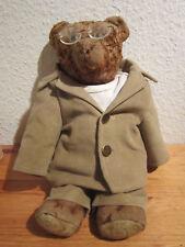 Antiker brauner Bär, ca. 40 cm, Mohair, Glasaugen