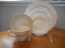 Wedgwood Embossed Queensware cream on cream smooth edge 5 piece place setting