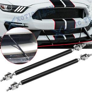 2pc Universal Black Front Bumper Lip Strut Rod Splitter Spoiler Support Tie Bars