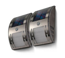 2 Pack Motion Activated Home Zone Security Solar Wall Fence LED Lights 40 Lumen