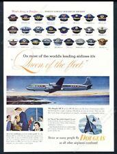 1953 American Airlines Continental Pan Am pilot cap art Douglas DC6 aircraft ad