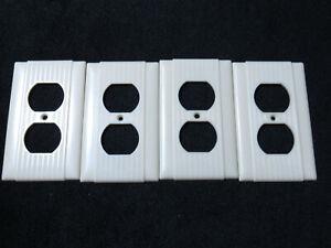 4 Vintage ULINE IVORY Bakelite Ribbed Deco Outlet Switchplate Cover sku11