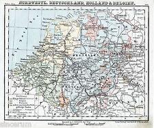 Ruhrgebiet Belgique Nederland 1874 orig. Atlas-Karte Oldenburg Koblenz Lippe LUX
