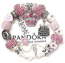 "Pandora Silver Bracelet Pink ""Happy Birthday"" Cake Princess  European Charms New"