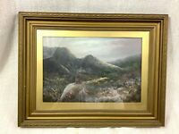Antique Framed Landscape Original Oil Painting Clouds Moorland Rural Mountains