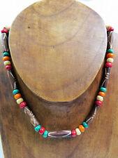 Herren Damen Halskette Surferkette Holz Büffelknochen farbig neu Karibik Rasta