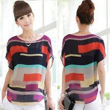 Women Ladies Shirt Tops Summer Loose Chiffon Short Sleeve Casual Blouse T-Shirt
