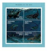 Tanzania Predators of the Deep Marine Animals Sharks Fauna miniature sheet MNH
