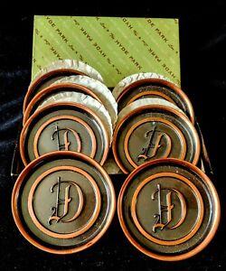 "Vintage 50's HYDE PARK COPPER COASTERS Initial ""D"" 7 in Original Box 3"" USA"