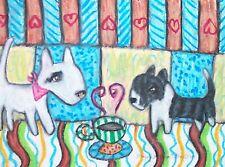 Miniature Bull Terrier Aceo Print Dog Mini Art Card 2.5 X 3.5 Ksams Collectible