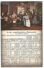 In der Hutzenstub, Klöppeln, Liedpostkarte, Anna Wechsler, Annaberg, Erzgebirge