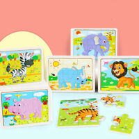 6PCS Kids Children Baby Early Childhood Educational Toys Wooden Jigsaw PuzzleU_X