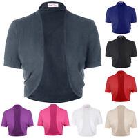 BP Women Ladies Cotton Short Sleeve Shrug Bolero Cardigan Top 6 Size S-3XL