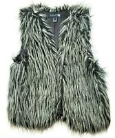 Womens Forever 21 Faux Fur Vest Small Black & White Soft Lined Punk Rock Fashion