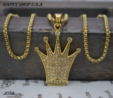 Hip Hop Fashion Jewelry Stainless Steel Queen Crown Pendant Necklace