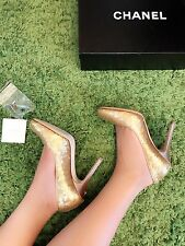 NIB Chanel Gold Sequin Pumps Size 37