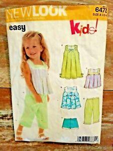 New Look Kids Sewing Pattern 6473 Toddler Girls Dress Top Pants Shorts 1/2-4