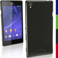 Nero Solido Gel TPU Custodia per Sony Xperia T3 D5102 Case Cover Skin Pellicola