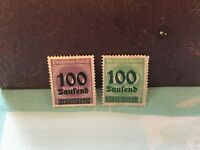 Pair of German Deutsches Reich 1923 overprinted 100 saufend on 400 & 100