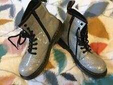 silver sparkly doc dr Martens boots , size 2, immaculate.