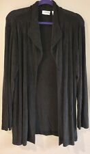Chico's Travelers Charcoal Gray Long Sleeve Drape Jacket Sz 3 X Large