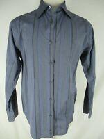 Armani Collezioni Mens Blue Stripe Long Sleeve Cotton Shirt L Recent