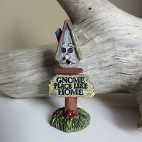 MINIATURE GNOME SIGN FOR VILLAGE GARDEN RESIN NEW Gnome Place Like Home 3 in.